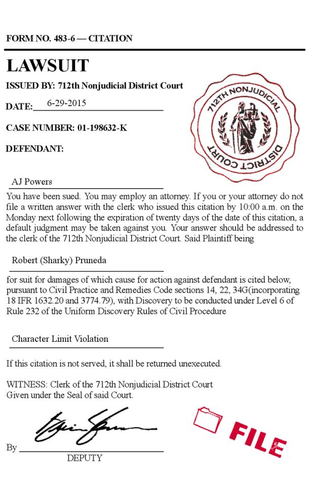Character Limit Violation - Lawsuit